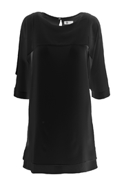 M made in Italy Crepe Woven 3/4 Sheer Sleeve Dress - Product Mini Image