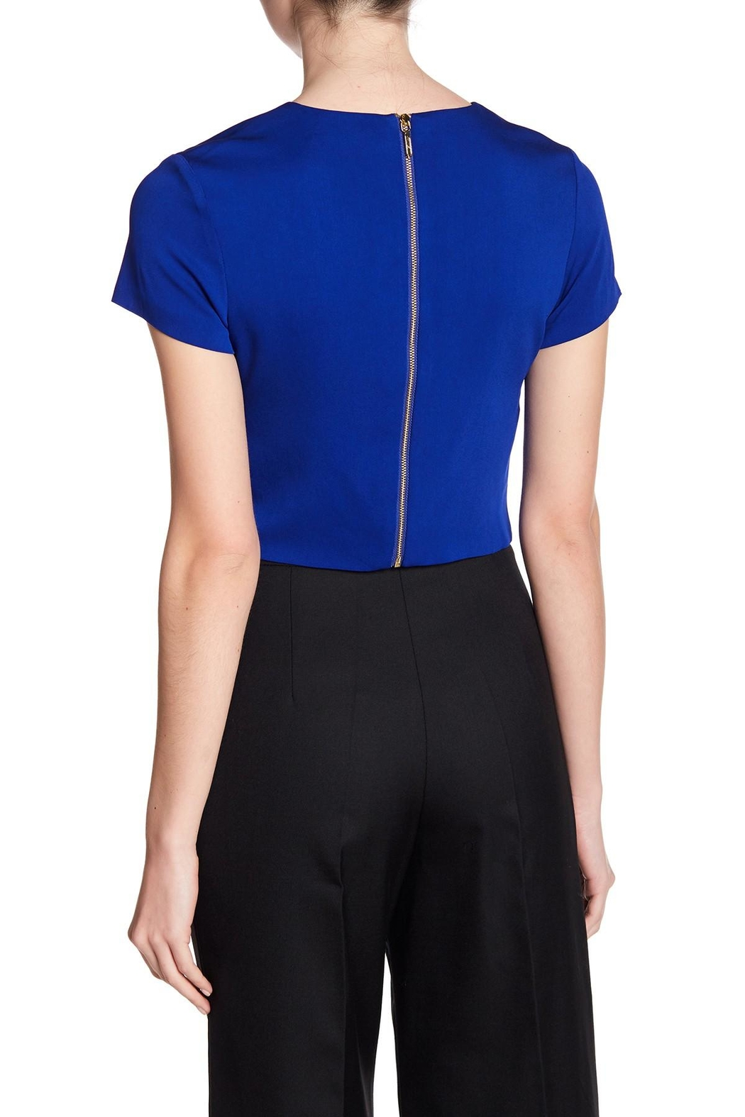 Nicole Miller Crepe-Woven Crop Top - Side Cropped Image