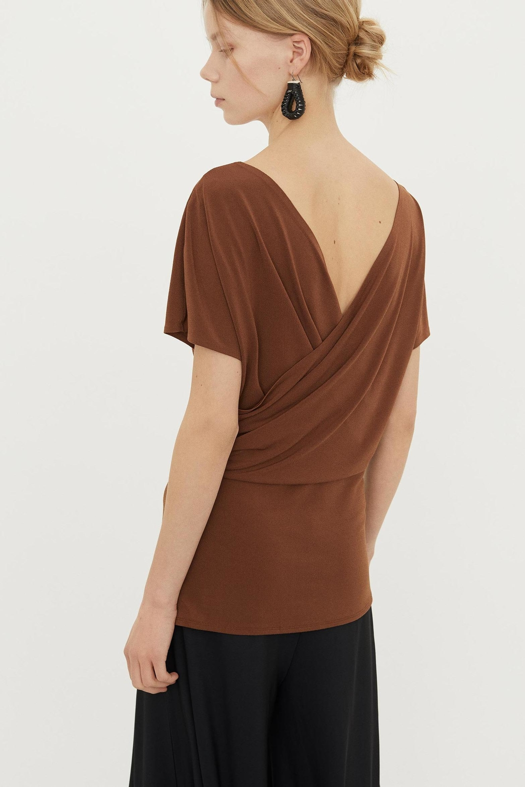By Malene Birger Crepe Wrap Top - Front Full Image
