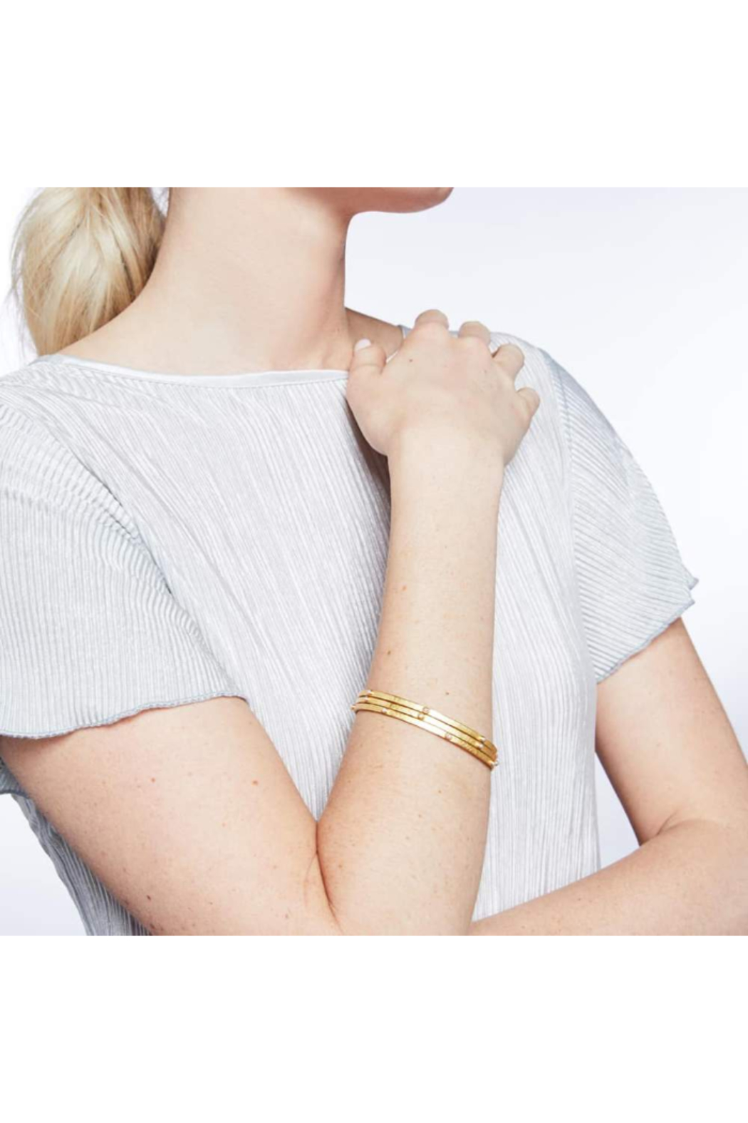 The Birds Nest CRESCENT BANGLE GOLD PEARL-SMALL - Front Full Image