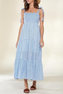 crescent Blue Skies Gingham Tiered Maxi Dress - Product List Image