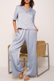 crescent Cloud Dreaming Satin Two Piece Lounge Set In Grey Sky - Product Mini Image