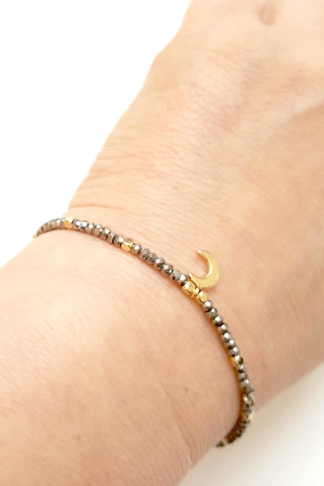 Simply Chic Crescent Moon Bracelet - Front Full Image
