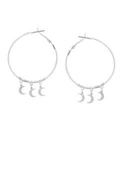 US Jewelry House Crescent Moon Dangle Hoop Earrings - Alternate List Image