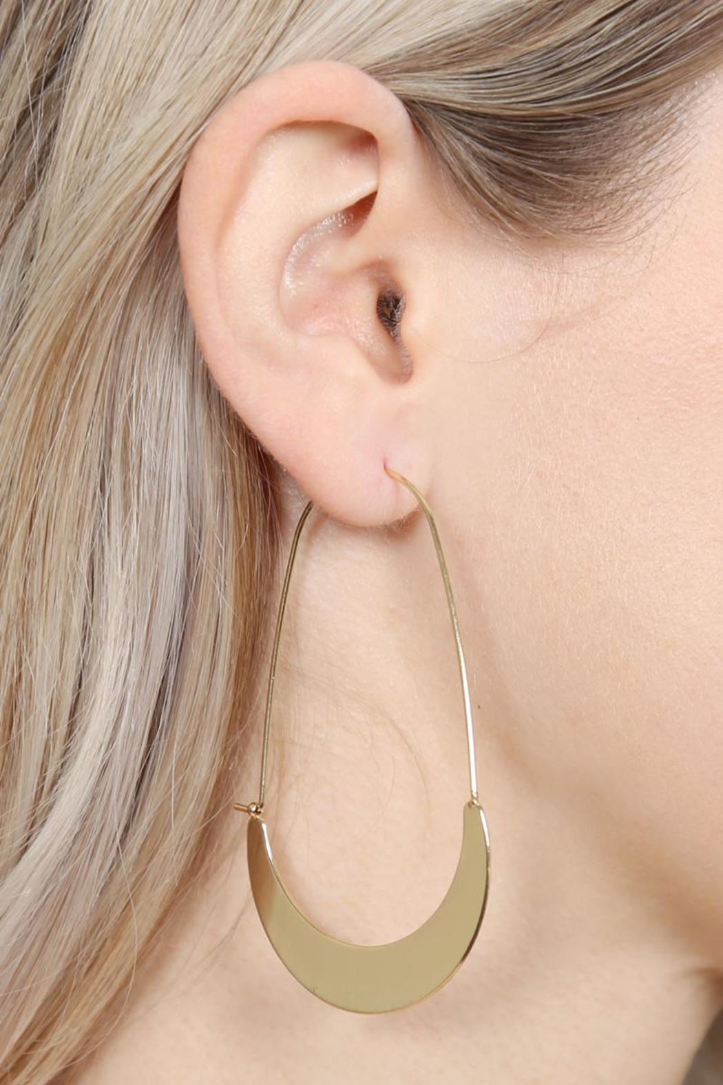 Riah Fashion Crescent-Moon Hoop Earring - Front Full Image