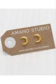 Amano Trading Crescent Moon Stud Earrings - Front cropped
