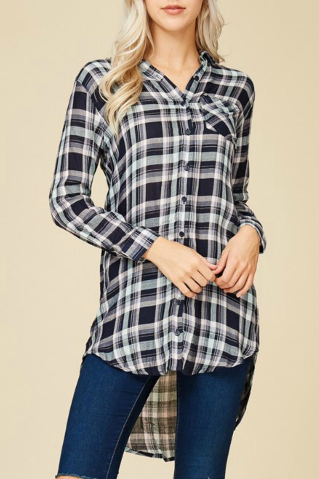 crescent Plaid Tunic Top - Front Cropped Image