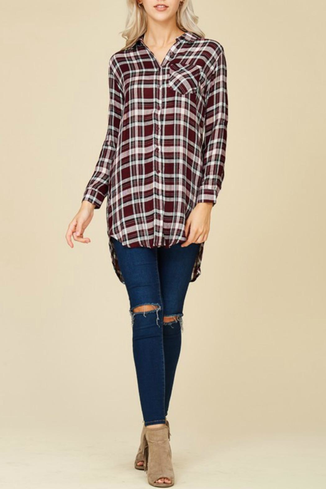 crescent Plaid Tunic Top - Front Full Image