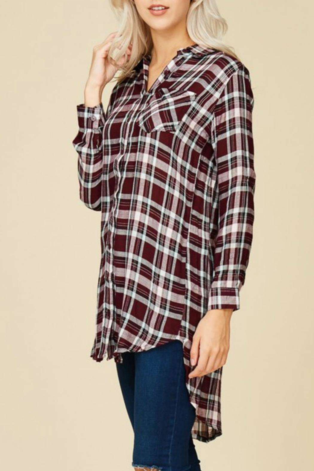 crescent Plaid Tunic Top - Side Cropped Image