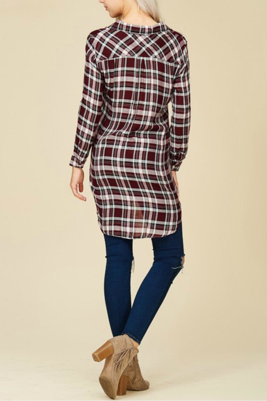 crescent Plaid Tunic Top - Back Cropped Image
