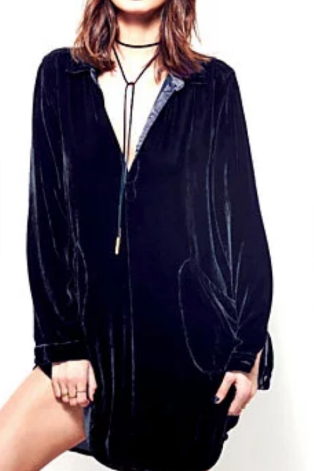 crescent Velvet Tunic Shirt - Main Image