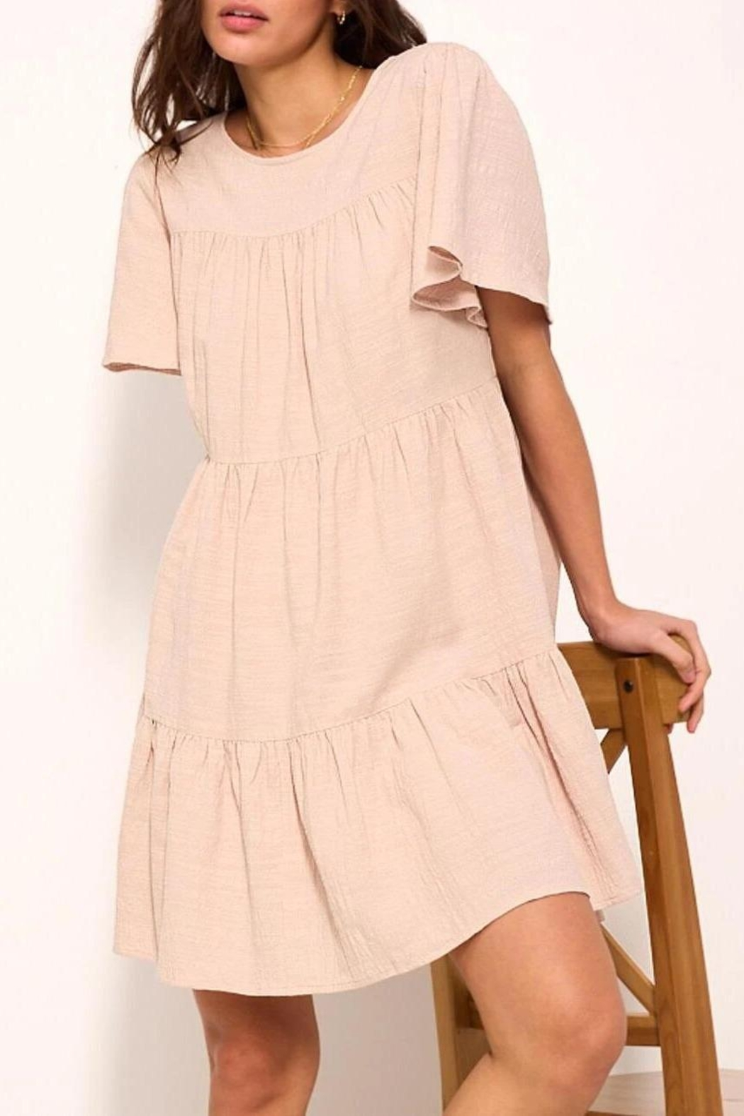 crescent Whimsical Tiered Babydoll Dress In Sand - Main Image