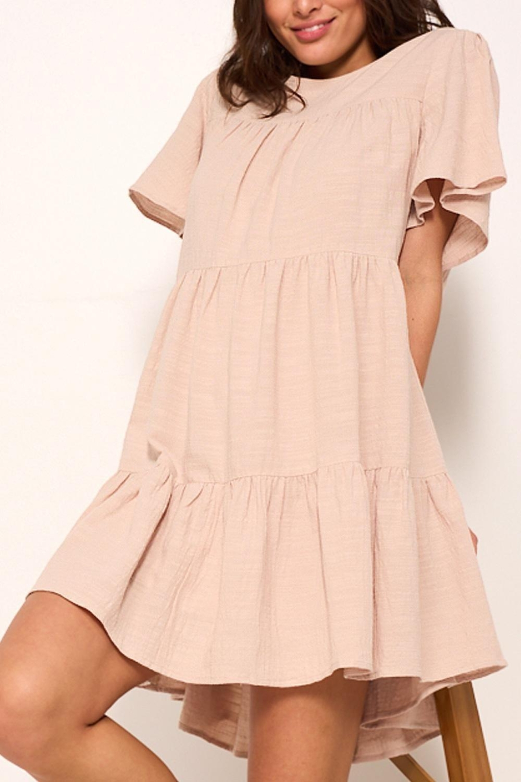 crescent Whimsical Tiered Babydoll Dress In Sand - Side Cropped Image