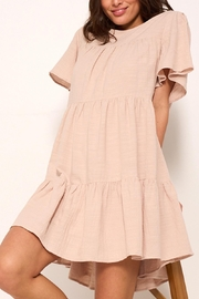 crescent Whimsical Tiered Babydoll Dress In Sand - Side cropped