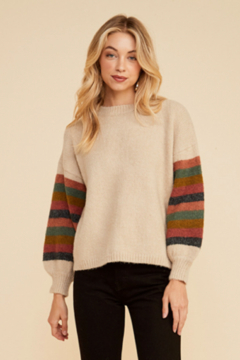 Lush Crew Neck Balloon Color Block Sleeve Sweater - Product List Image