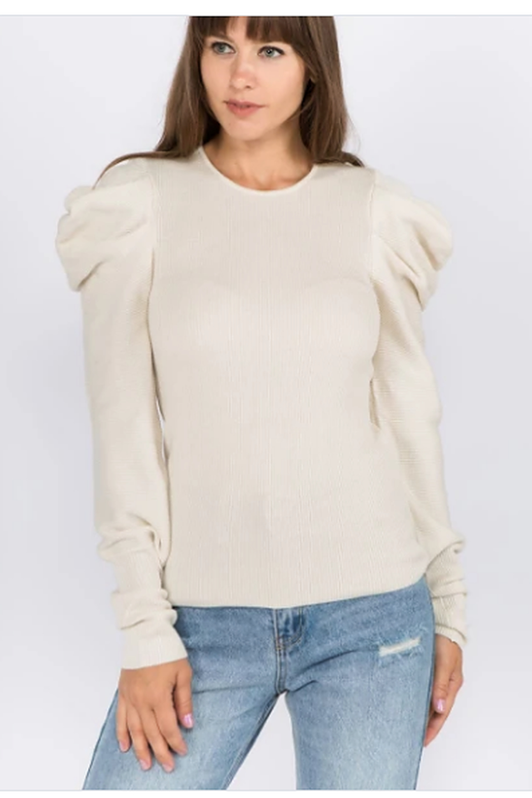 Ontwelfth Crew neck ribbed sweater - Front Cropped Image