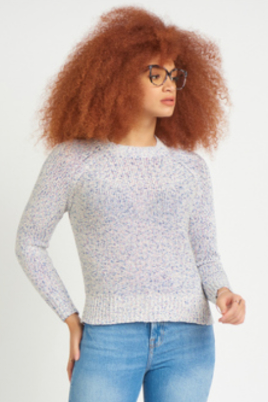 Dex CREW NECK RIBBON KNIT SWEATER - Front Full Image