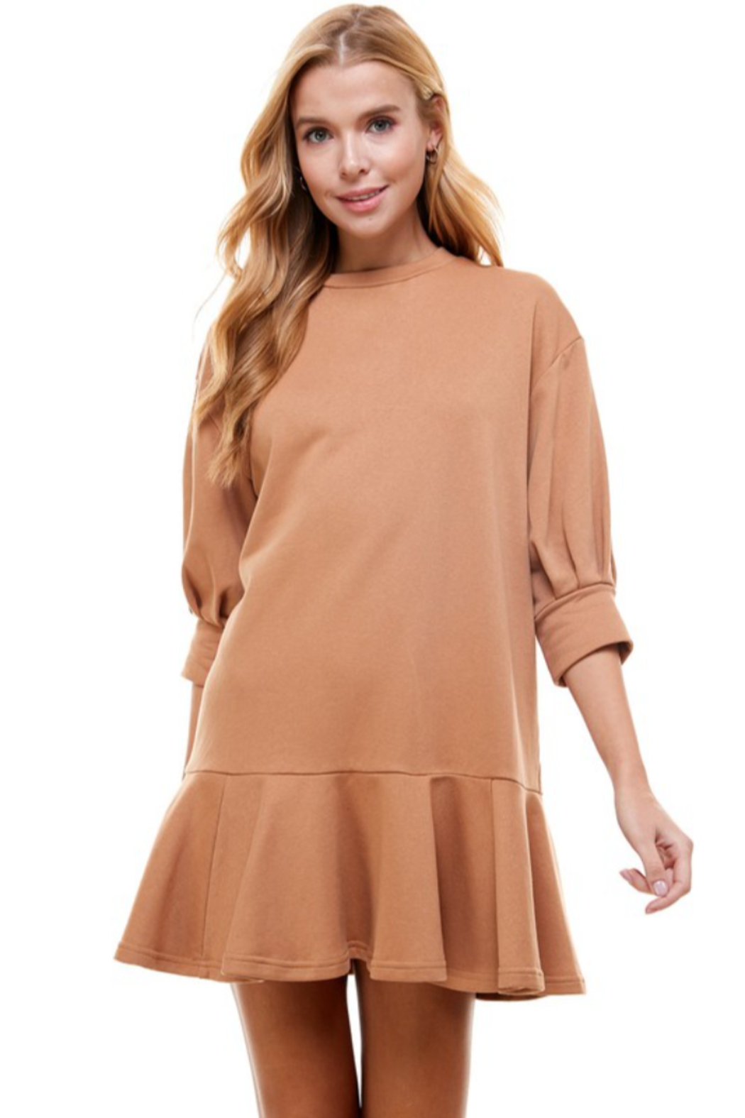 TCEC Crew Neck Sweatshirt Dress - Front Cropped Image