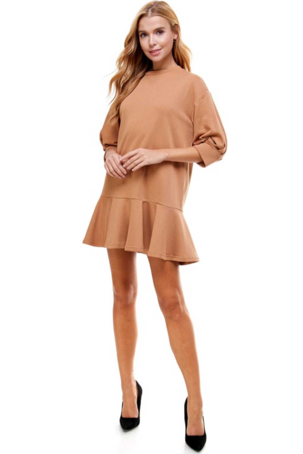TCEC Crew Neck Sweatshirt Dress - Back Cropped Image