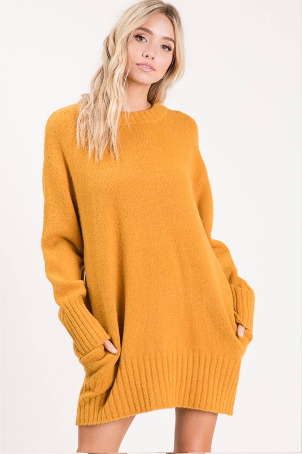 Apple B  Crew Sweater dress - Front Cropped Image