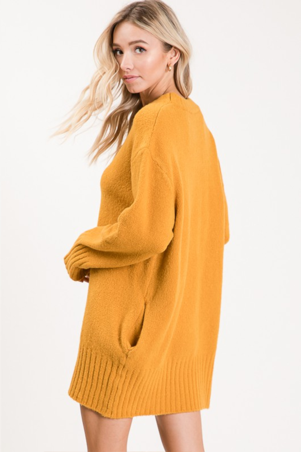 Apple B  Crew Sweater dress - Back Cropped Image