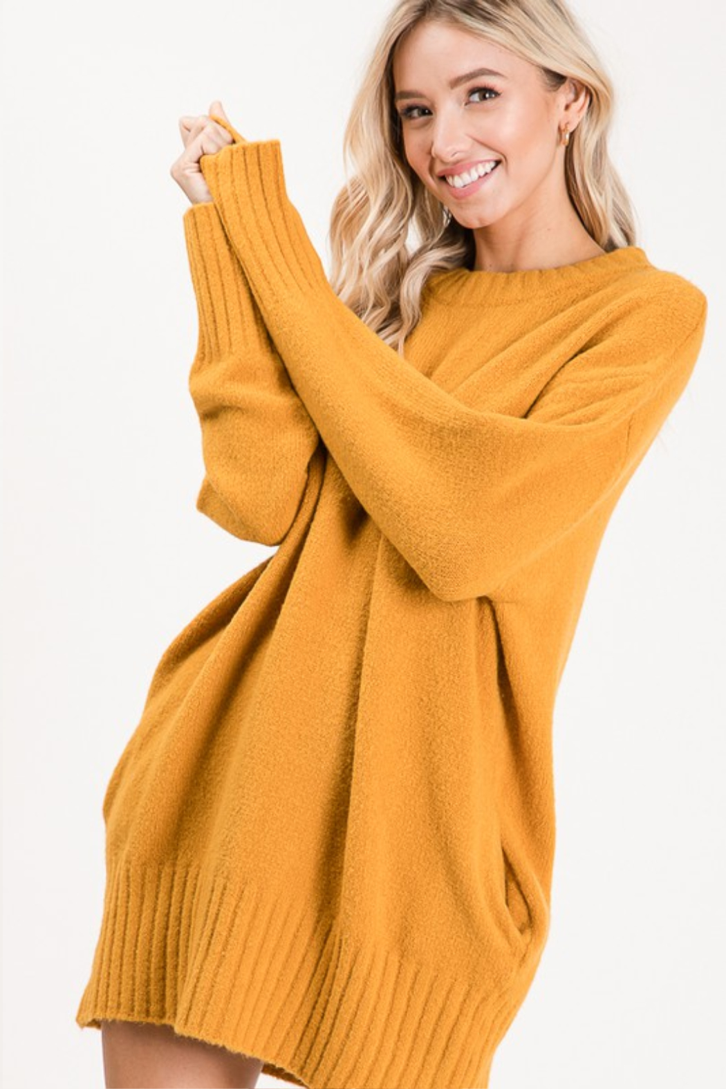 Apple B  Crew Sweater dress - Side Cropped Image