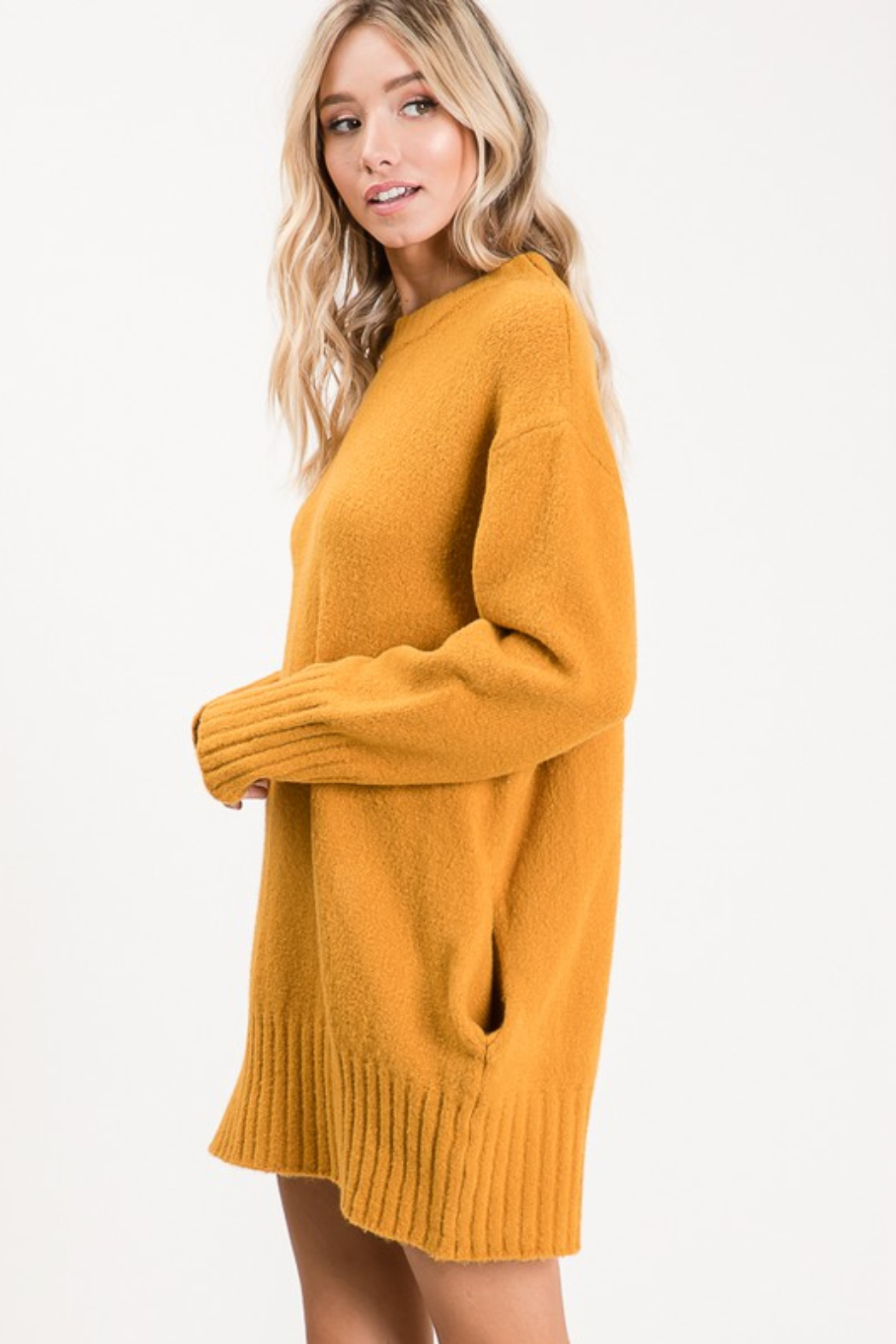 Apple B  Crew Sweater dress - Front Full Image