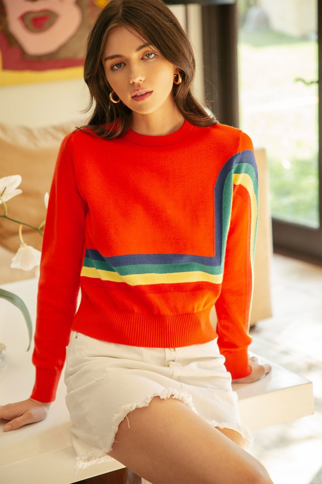 Thml Crewneck Rainbow Sweater - Front Cropped Image