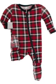 Kickee Pants Crimson 2020 Holiday Plaid Zipper Footie - Front cropped