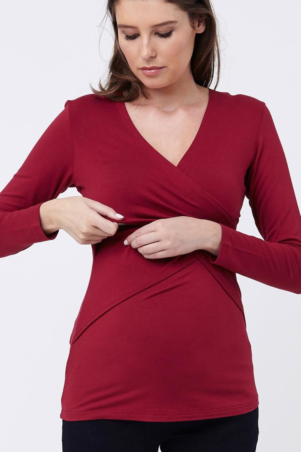 Ripe Maternity Crimson Embrace Top - Front Cropped Image