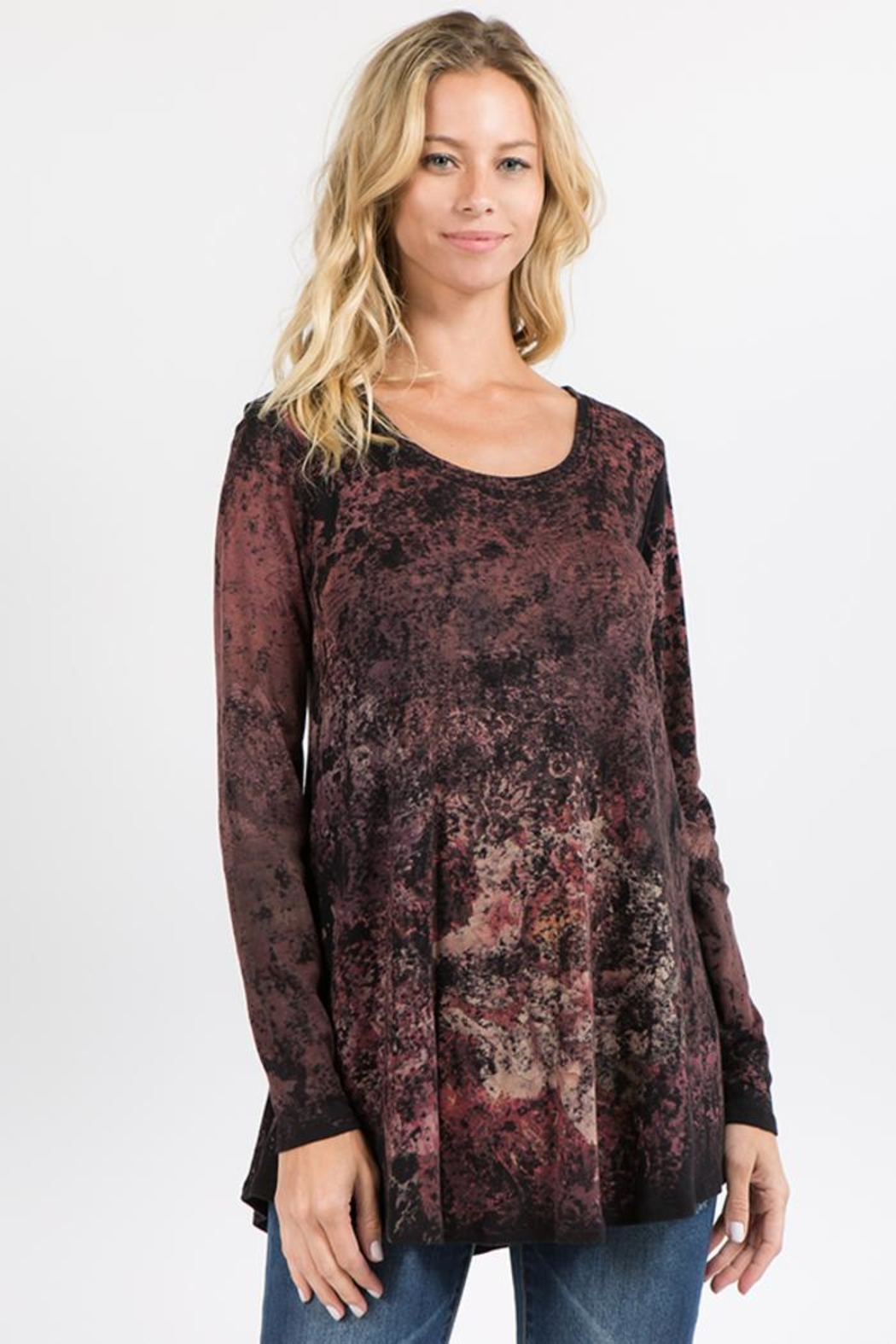 M. Rena Crimson Floral Tunic - Front Cropped Image