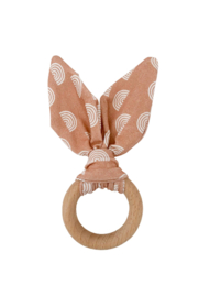 Chewable Charm Crinkle Bunny Ears Teether - Front cropped