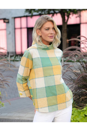 Sharon Young Crinkle Check Funnel Neck Top - Product Mini Image