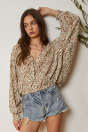By Together  Crinkle Chiffon Overlap Blouse - Front cropped
