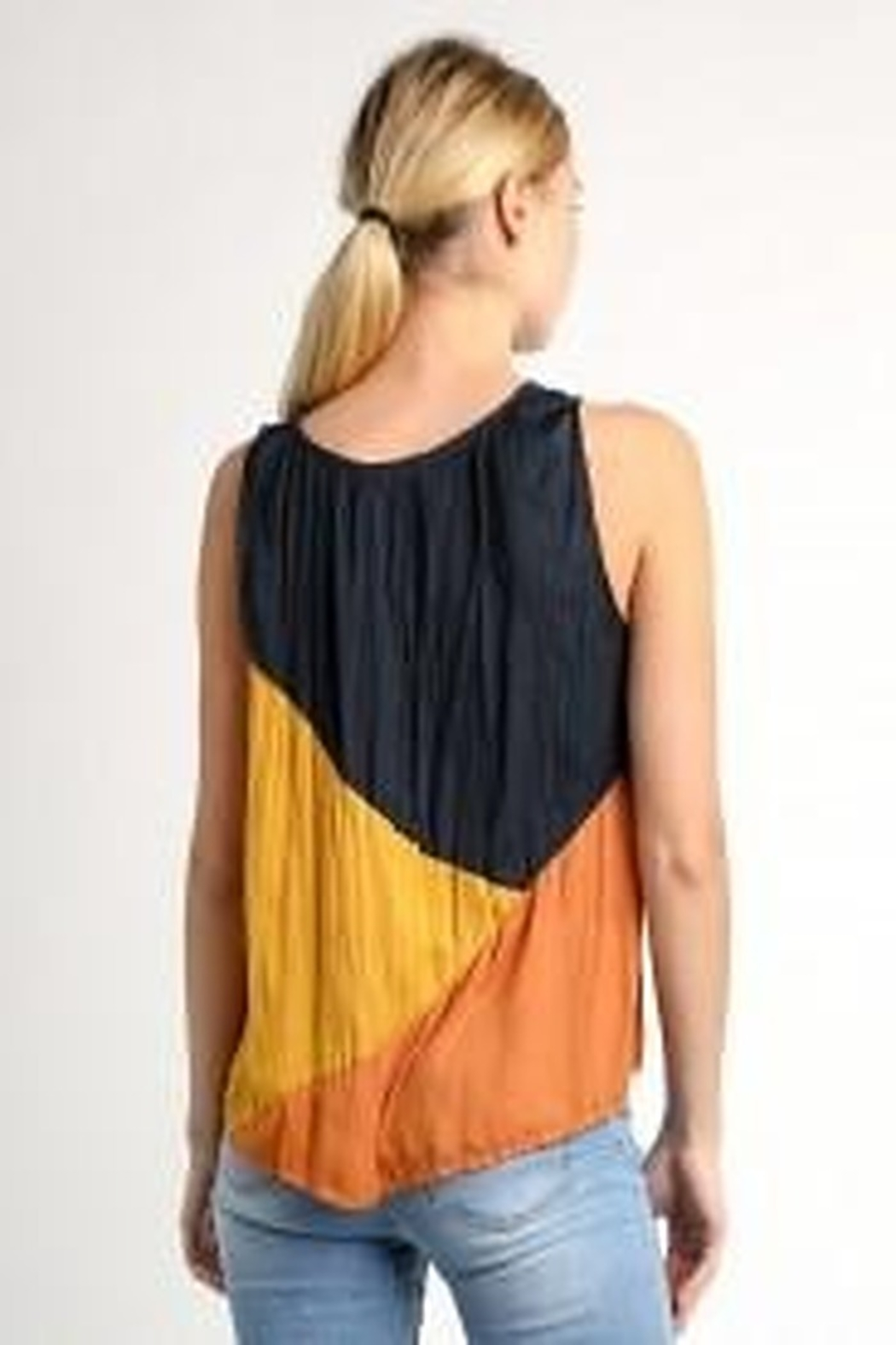 Current Air Crinkle Color Block Tank Blouse - Front Full Image