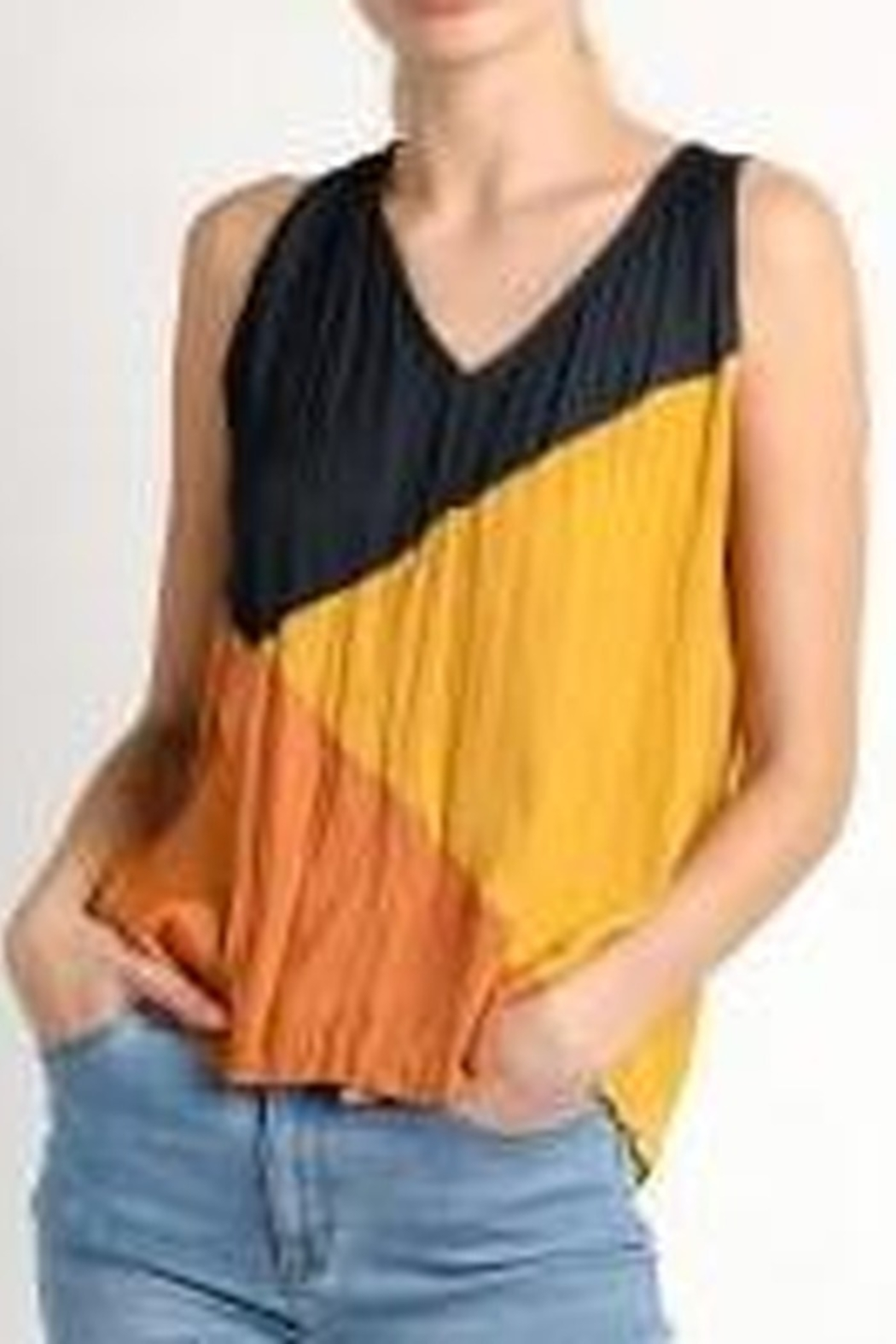 Current Air Crinkle Color Block Tank Blouse - Main Image