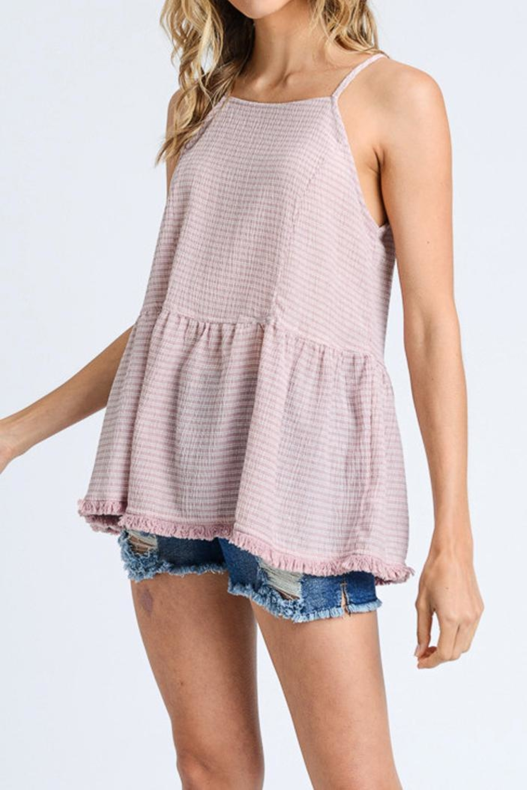 Doe & Rae Crinkle Woven Tank - Front Cropped Image