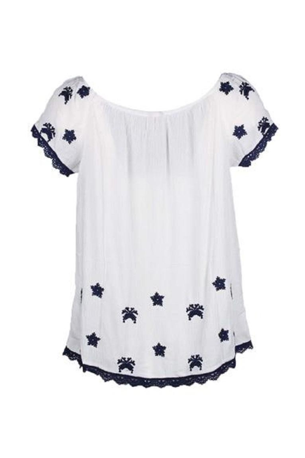 EsQualo Crinkled Embroidered Blouse - Front Full Image