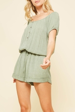 Promesa USA Crinkled-Fabric Button-Down-Romper - Product List Image