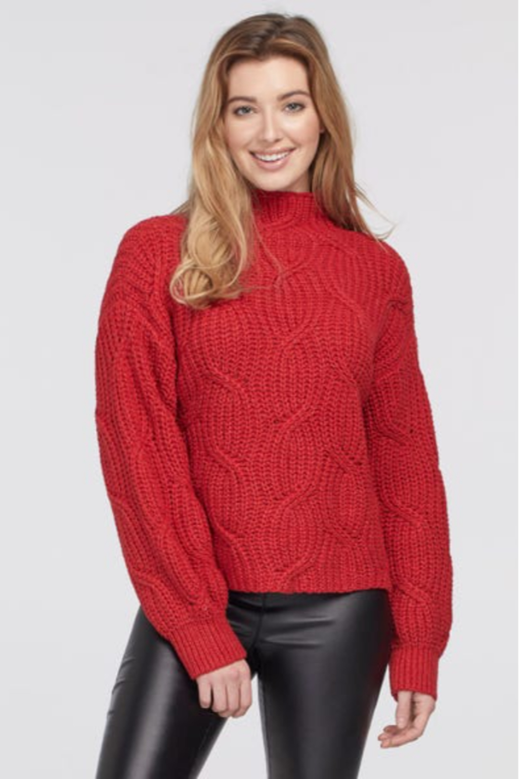 tribal  Crimson Cable Knit Sweater - Main Image