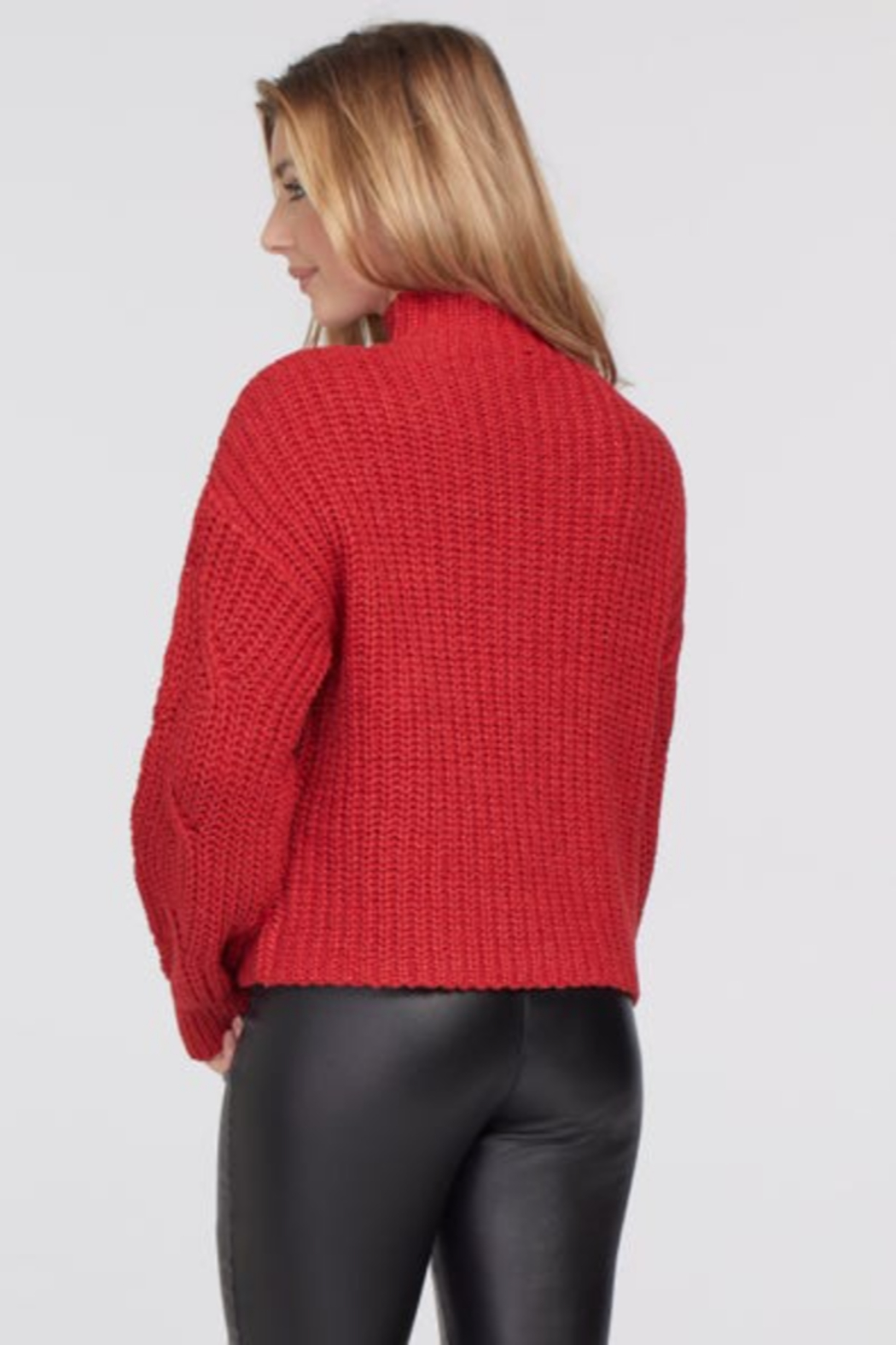 tribal  Crimson Cable Knit Sweater - Front Full Image