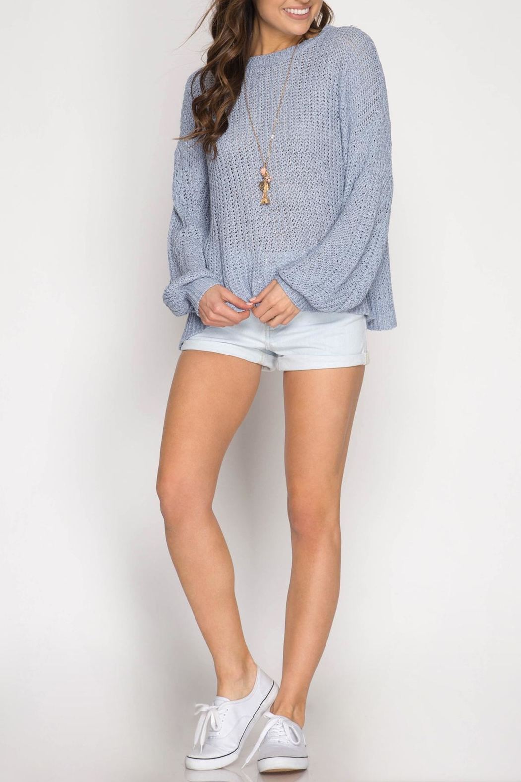 She + Sky Criss-Cross Back Sweater - Front Cropped Image