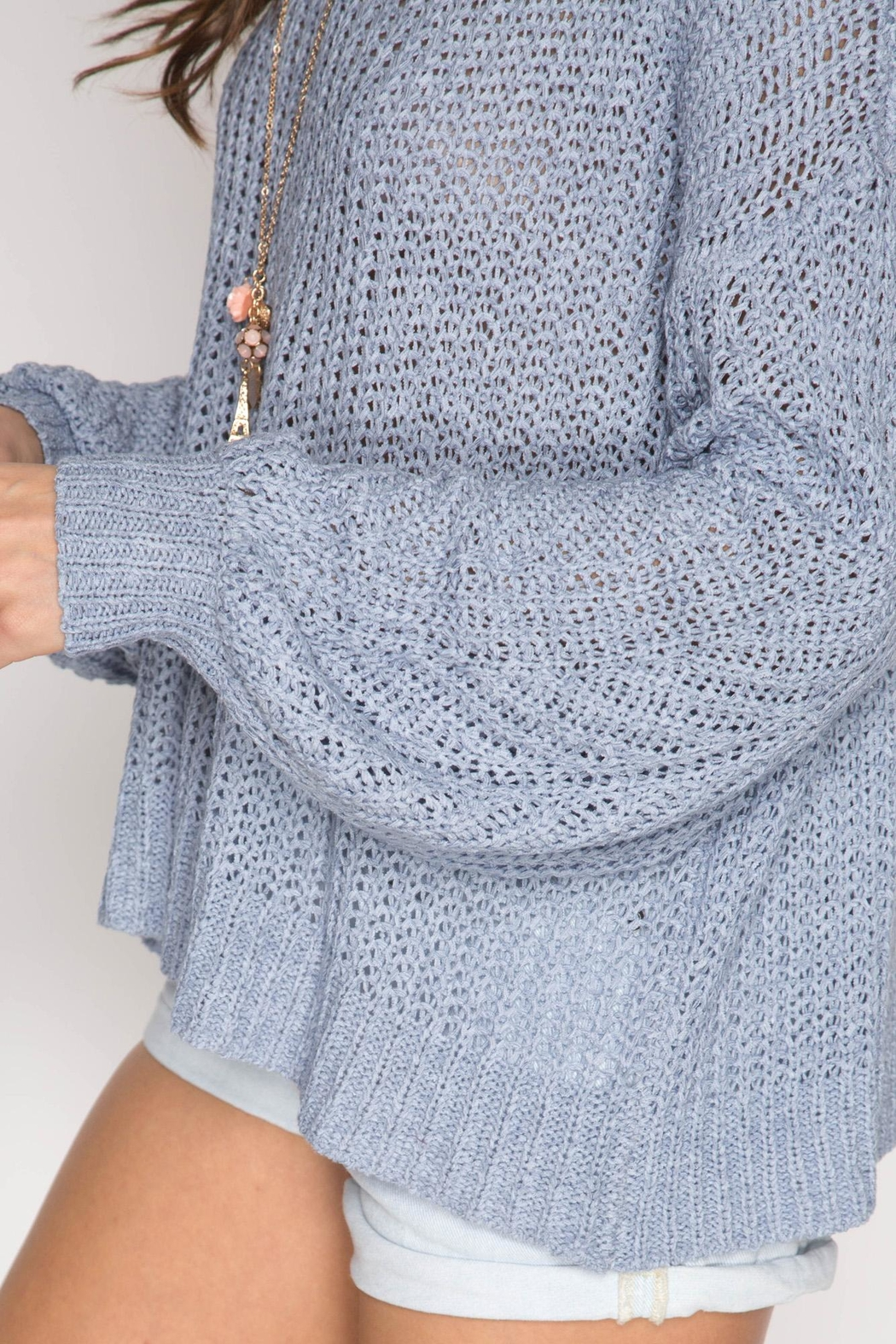 She + Sky Criss-Cross Back Sweater - Side Cropped Image