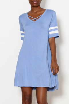 Shoptiques Product: Criss Cross Dress with Striped Sleeve Detail