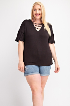 143 Story Criss Cross Front Short Sleeve Shirt - Product List Image