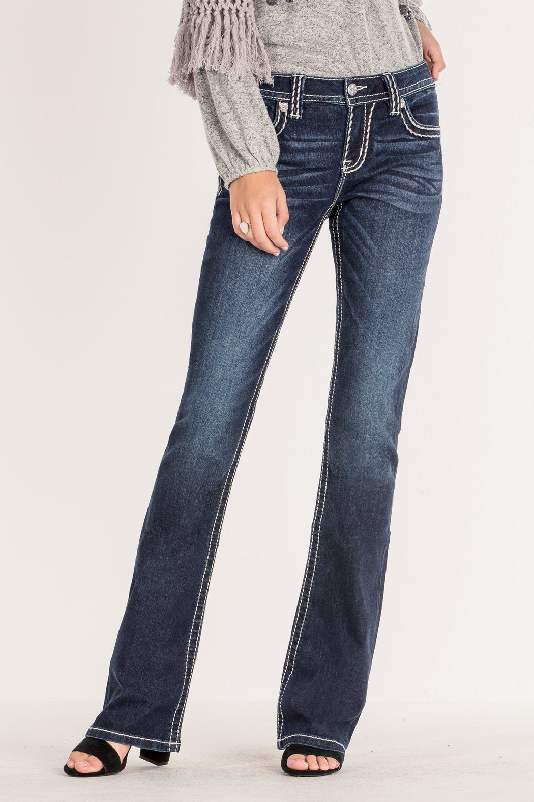 Miss Me Criss-Cross Midrise Bootcut - Side Cropped Image