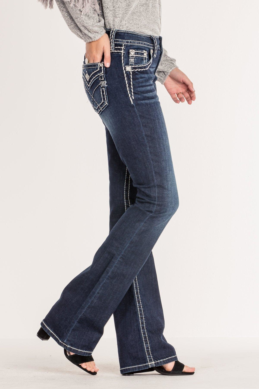 Miss Me Criss-Cross Midrise Bootcut - Front Full Image