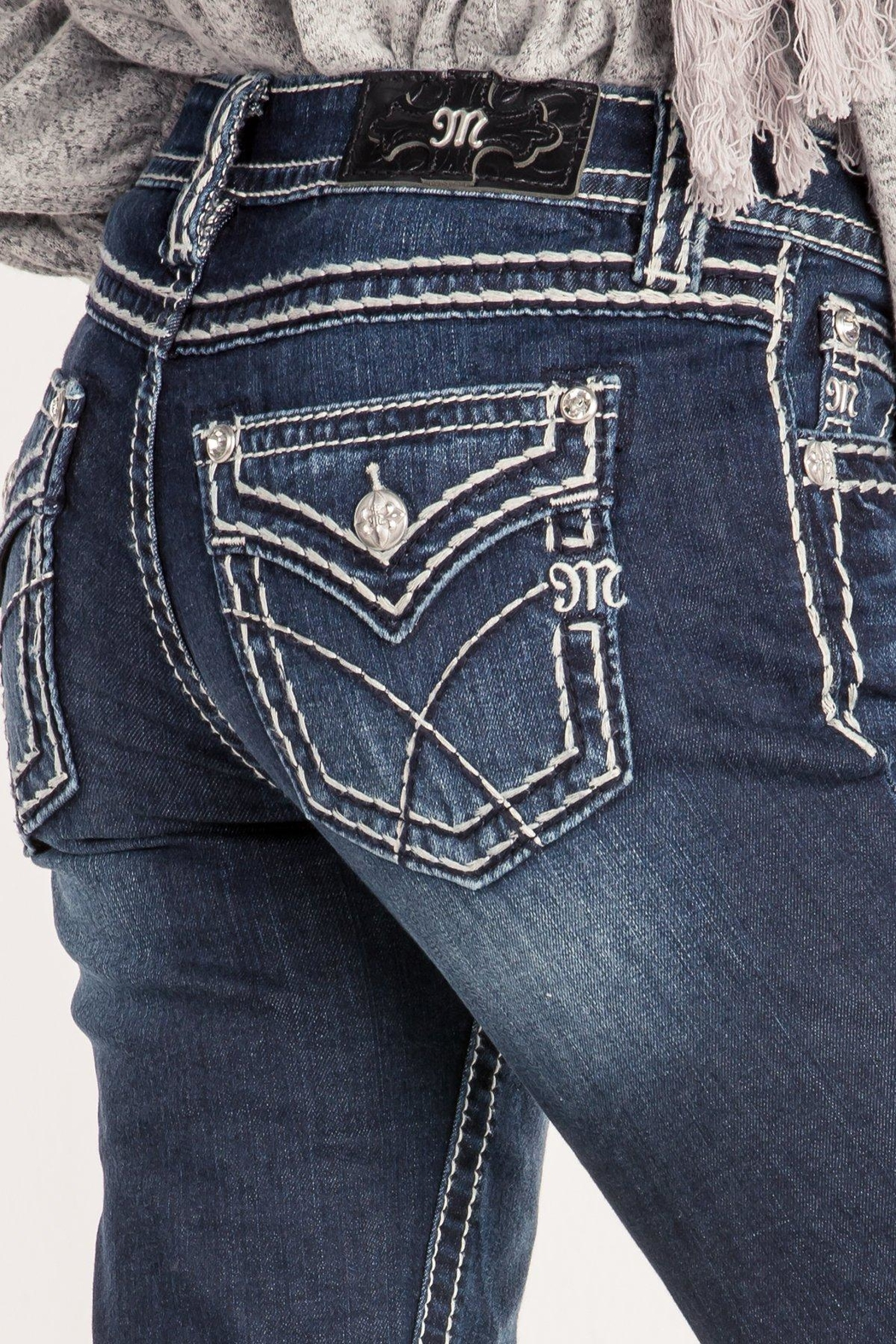 Miss Me Criss-Cross Midrise Bootcut - Back Cropped Image