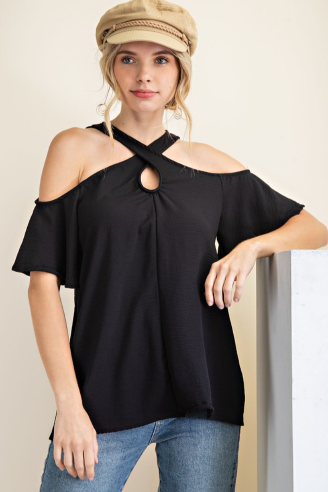 143 Story Criss Cross Neck Flare Sleeve Top - Main Image