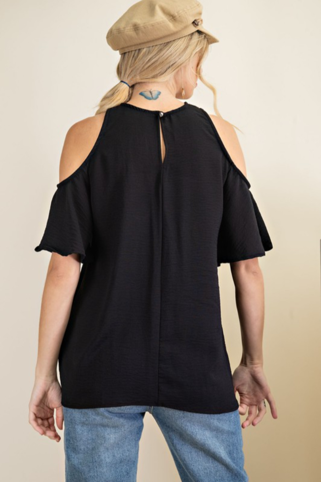 143 Story Criss Cross Neck Flare Sleeve Top - Front Full Image
